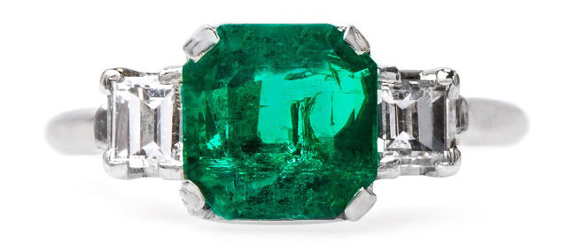 Vintage Modern Era Emerald and Diamond Engagement Ring | Ventana