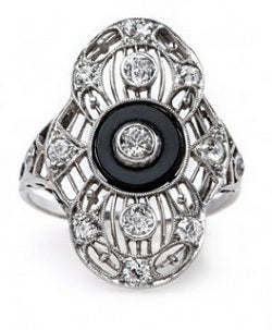Upminster black gemstone ring