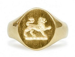 14k Gold Lion Crest Ring