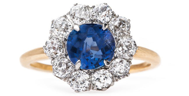 Vintage Victorian Sapphire Halo Engagement Ring | Brookings