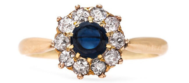 Vintage Victorian Sapphire Halo Engagement Ring | Bluewell
