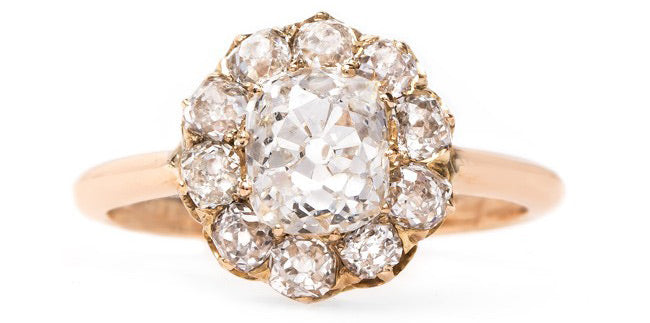Vintage Rose Gold Cluster Engagement Ring | Kirkwood