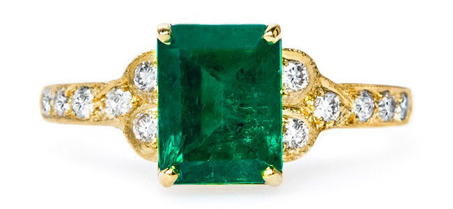 Vintage Inspired Emerald Cut Emerald Ring | Marcelle Claire Pettibone Trumpet & Horn