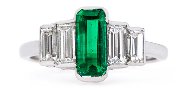 Vintage Art Deco Emerald and Diamond Ring | Evergreen