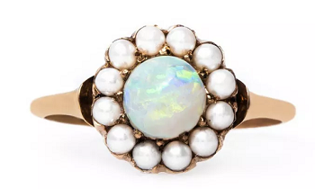 pearl and opal engagement ring