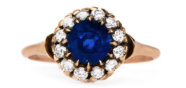 vintage-inspired-handmade-sapphire-diamond-cluster-halo-engagement-ring-sapphire-smokey-hill