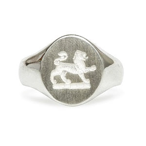 vintage inspired silver right hand crest ring