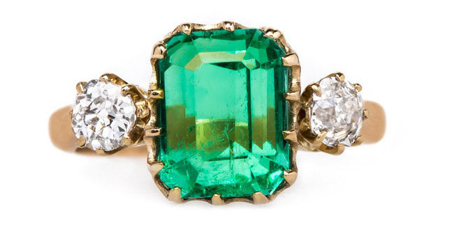 vintage-victorian-step-cut-emerald-old-mine-cut-diamonds-greenhills