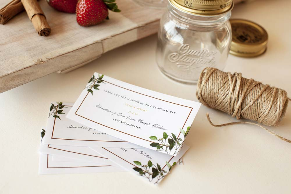 Easy diy jam jar wedding favors trumpet horn you can create your own labels using anything from photoshop or illustrator to a free online tool like canva you can then print and cut them yourself solutioingenieria Gallery
