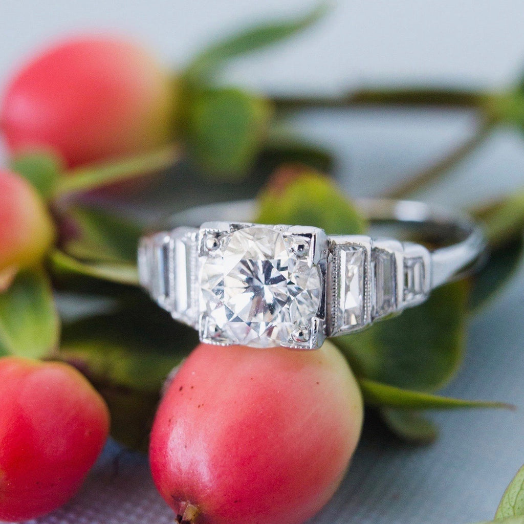 Huntly Hill | Art Deco platinum diamond antique vintage engagement ring