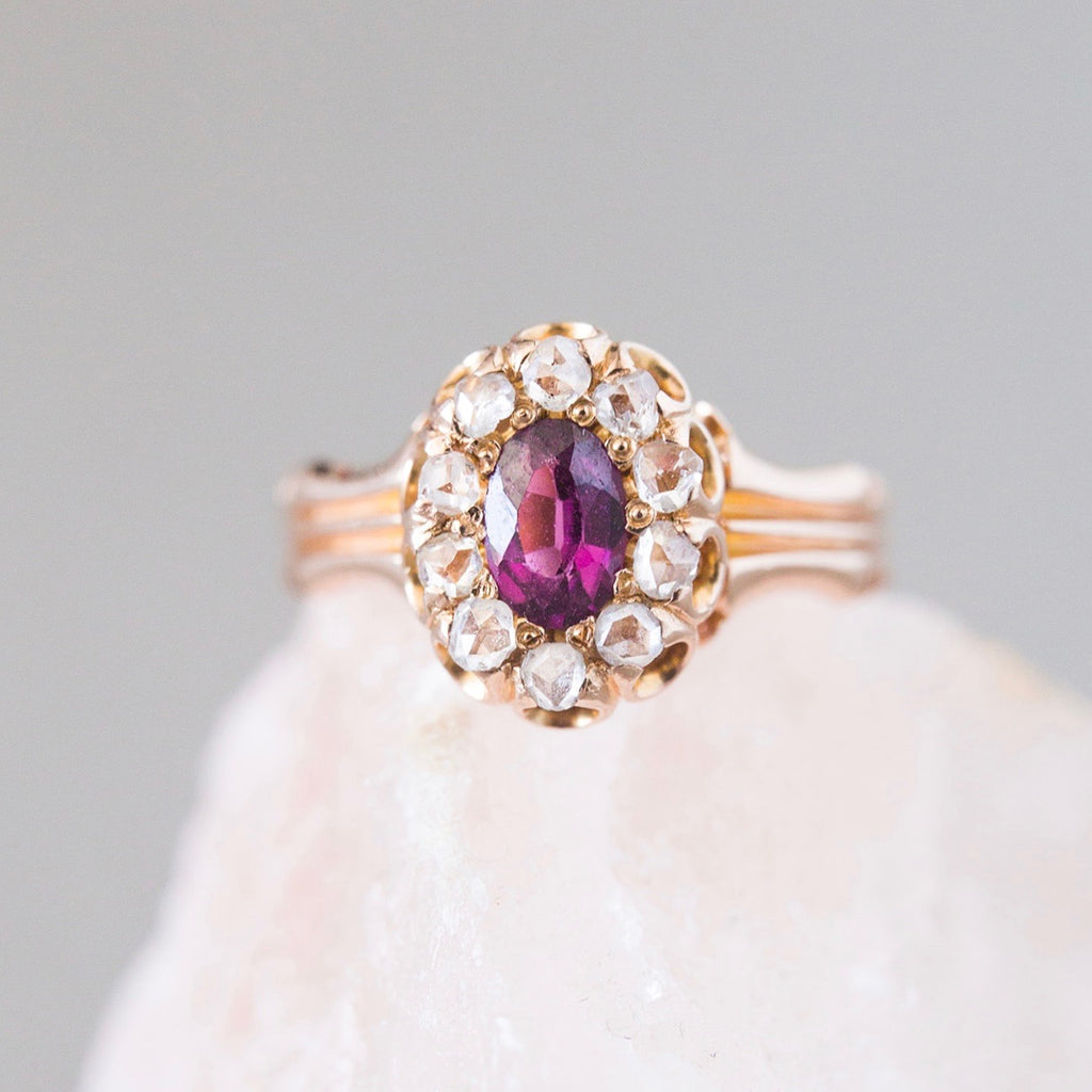 Phillimore | Victorian yellow gold antique rhodolite garnet old mine cut diamond halo engagement ring
