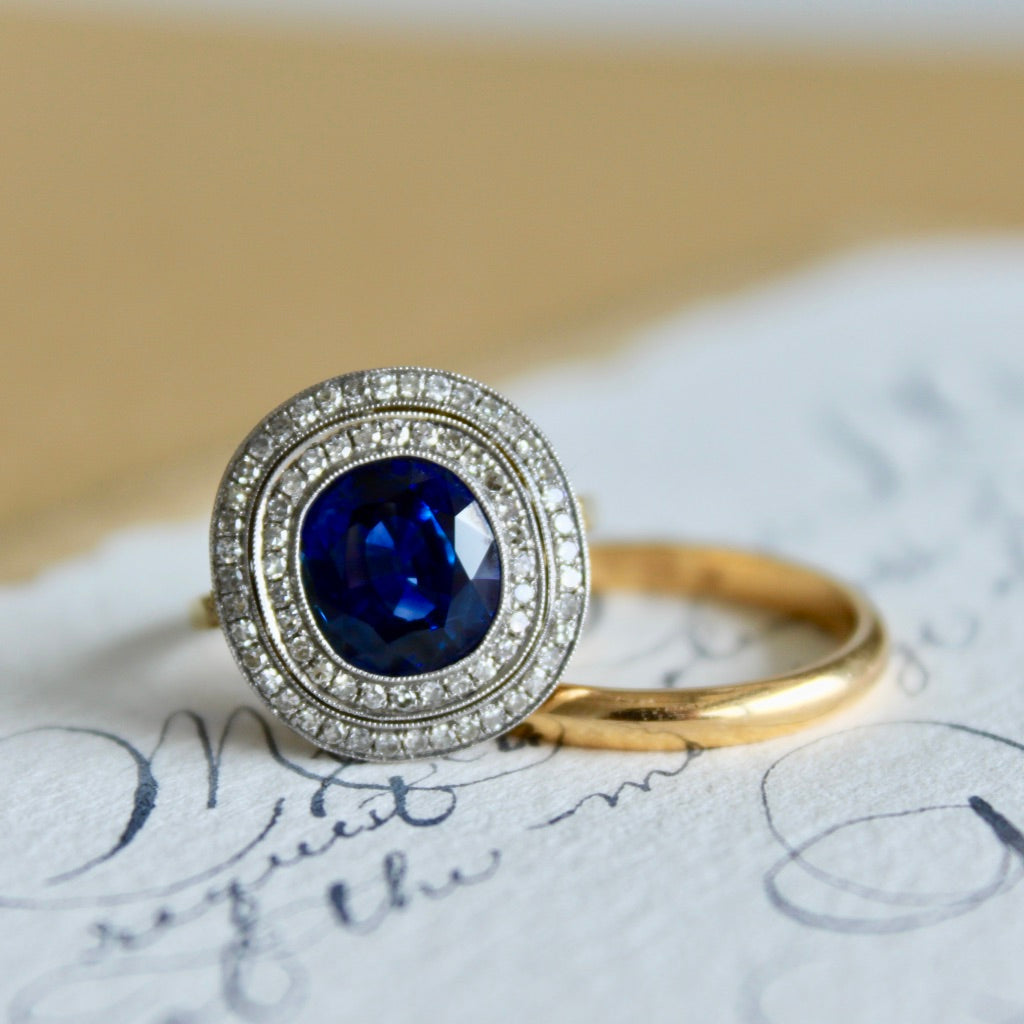 Providence | Edwardian vintage inspired handcrafted sapphire diamond halo engagement ring