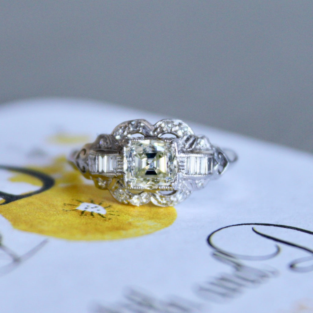 Rolling Ridge | Art Deco antique platinum diamond engagement ring