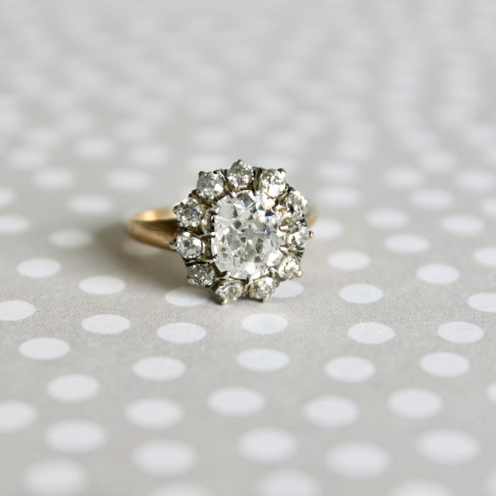 Sandon | Authentic Victorian Era diamond cushion cut cluster ring dating to the year 1890 by Trumpet & Horn