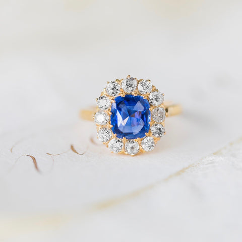 Antique Victorian Ceylon Sapphire Diamond Halo Engagement Ring