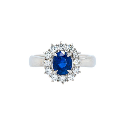 Blue vintage sapphire and diamond halo ring