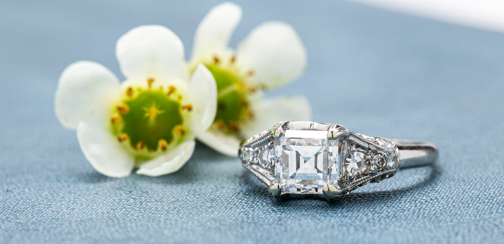 Groveland is a spectacular and authentically vintage Art Deco (circa 1925) platinum and diamond engagement ring.