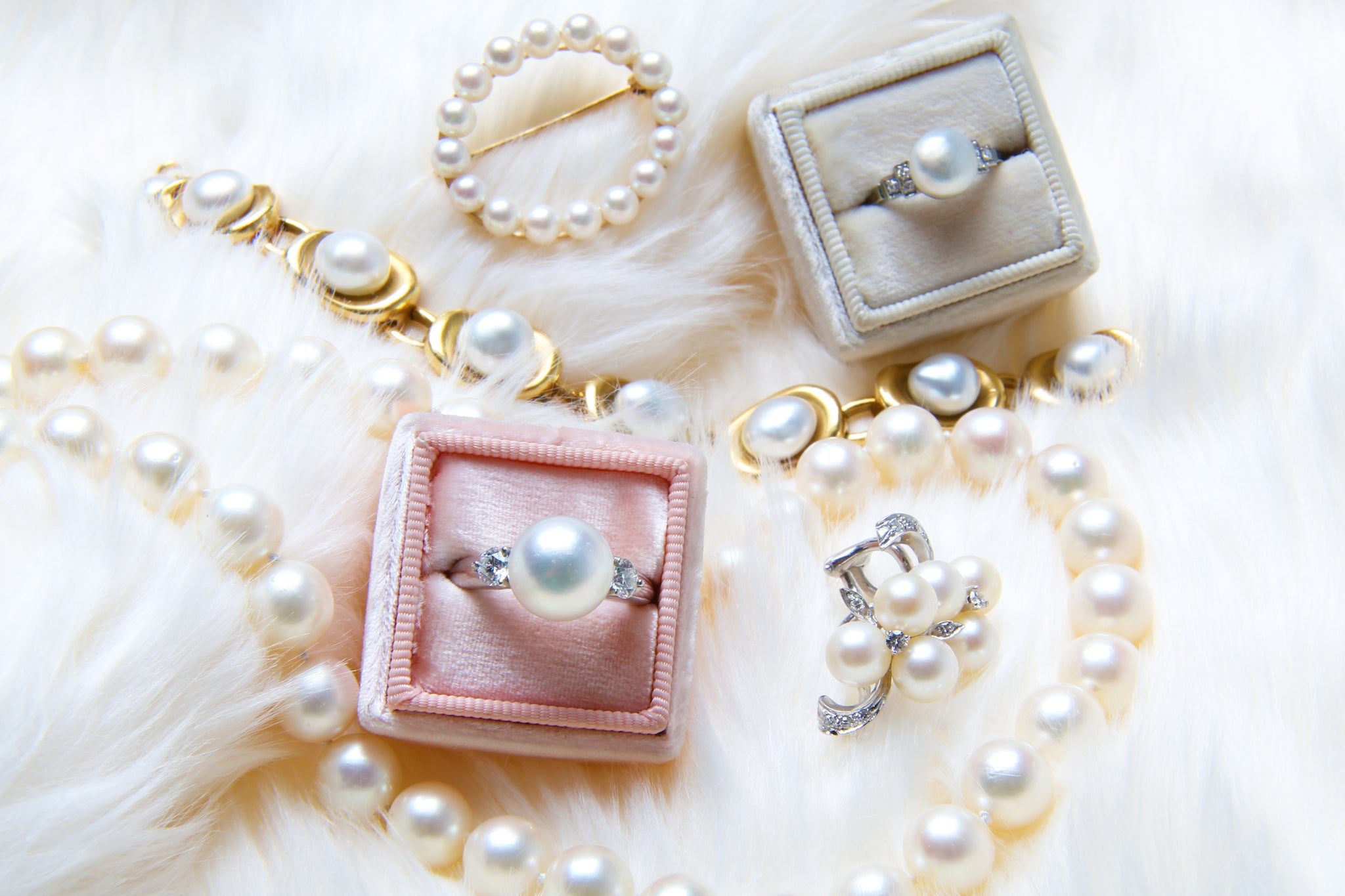 Vintage Pearl Engagement Rings and Pearl Jewelry from Trumpet & Horn