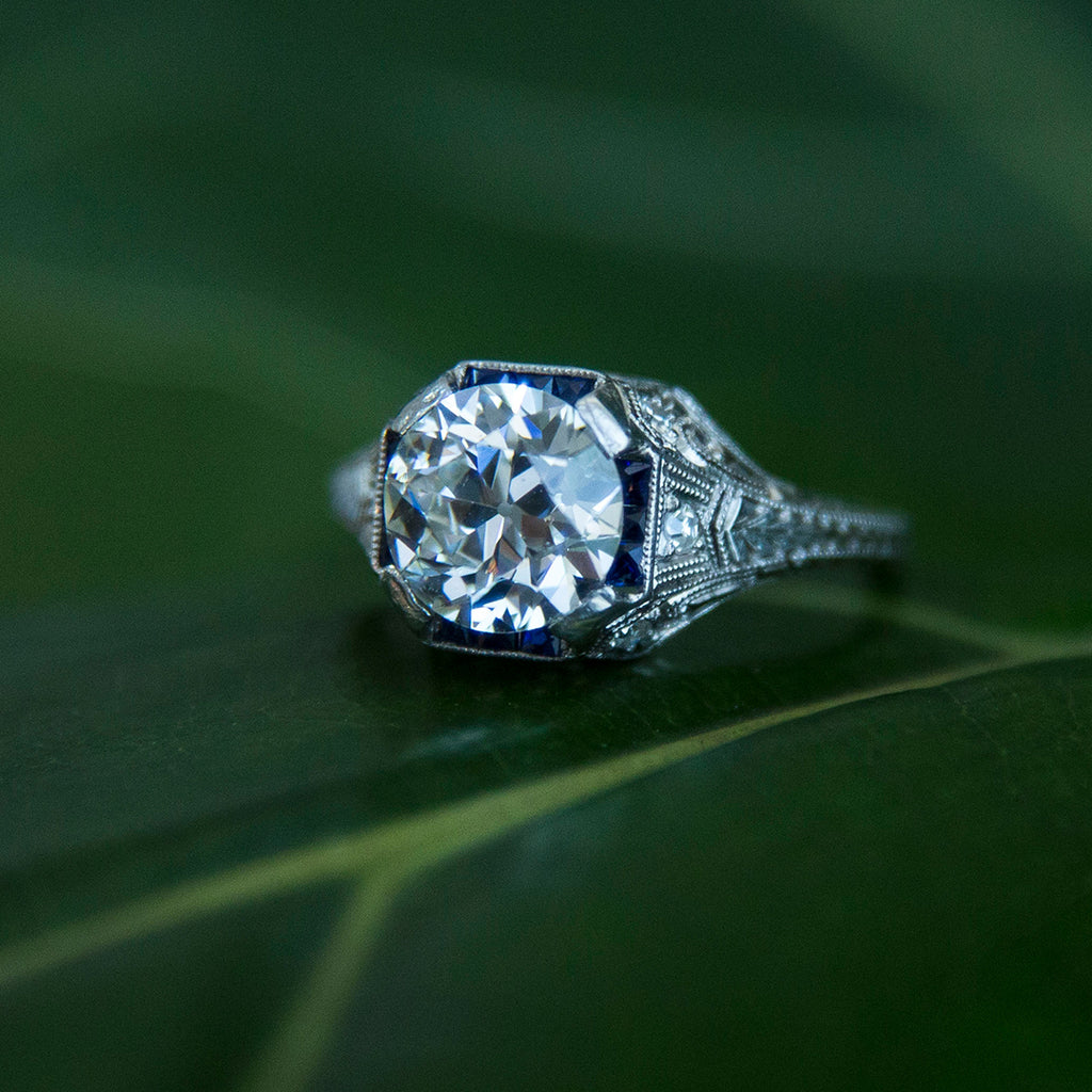 Shafor Park | Edwardian era platinum, diamond and sapphire engagement ring circa 1910 by Trumpet & Horn