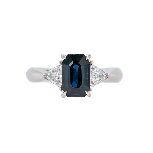 Affordable Modern Three-Stone Sapphire & Diamond Ring | Linden Valley