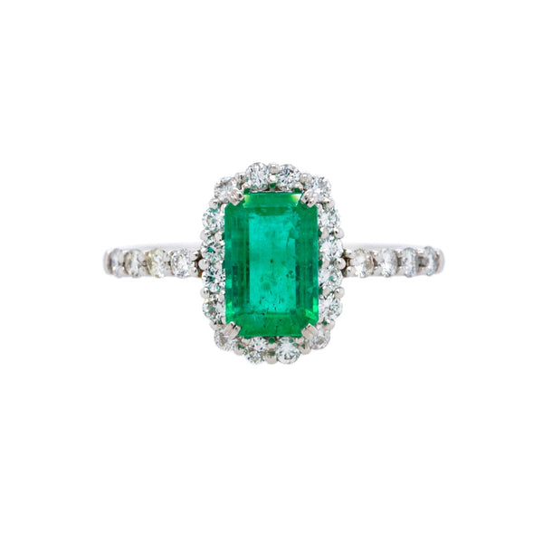 Bright & Beautiful Modern Emerald Micro Pave Halo | Bluegrass Farms