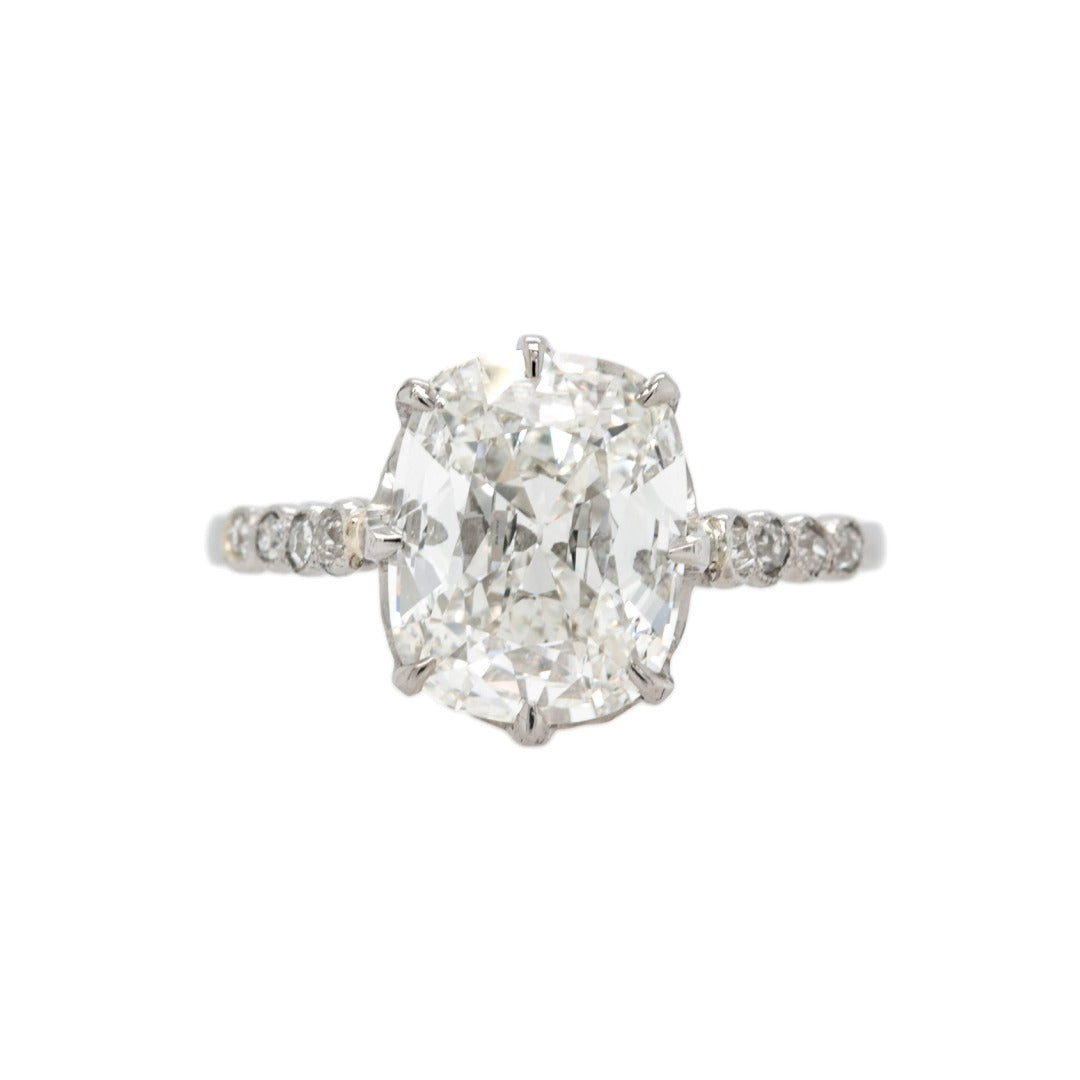 Spectacular Belle Epoch Platinum & Old Mine Cushion Diamond Engagement Ring with French Hallmarks | Bellefield