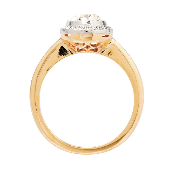Willow Glen handmade diamond halo engagement ring made in platinum and 18k yellow gold by Trumpet & Horn
