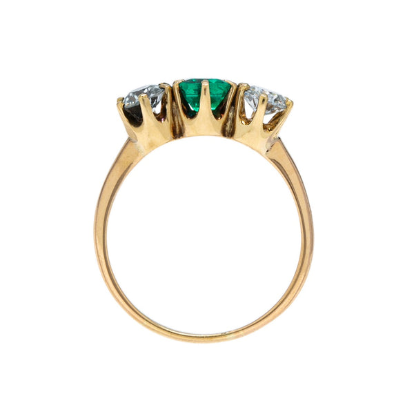 Fabulous & Affordable Victorian Emerald & Diamond Three-Stone Ring | Greenbrae