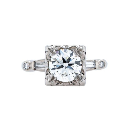 Romantic Retro Diamond Engagement Ring with Hearts | Woodhouse Court