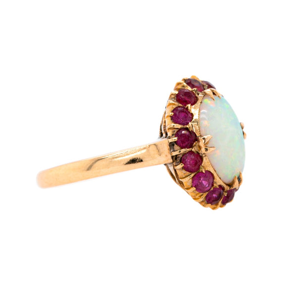 Happy & Colorful Retro Opal and Ruby Halo Cocktail Ring | Hallory