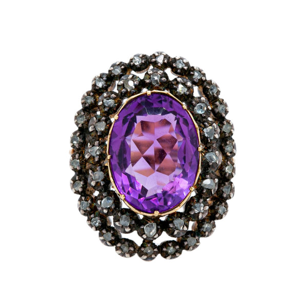 Grand Antique Victorian Amethyst & Double Halo Diamond Ring | Hope Bay
