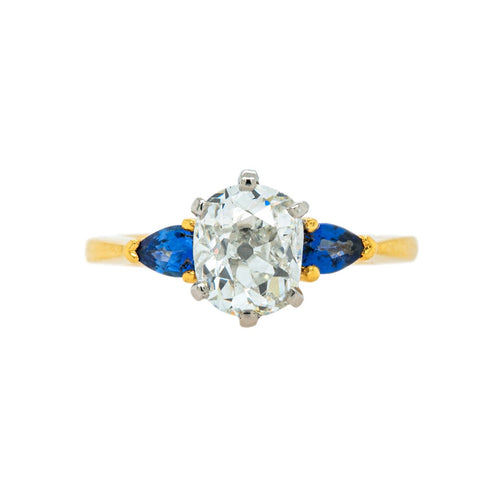 Mid-Century Old Mine Diamond & Sapphire Engagement Ring | Blue Valley