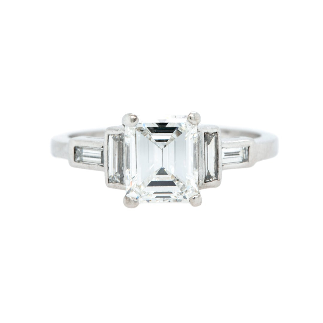 Classic & Sizable Bright White Emerald Cut Diamond Engagement Ring | Hyannis