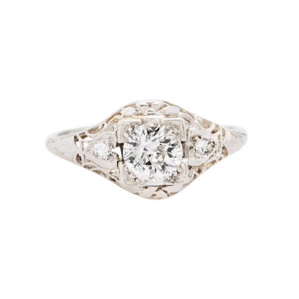Alta Visa platinum and diamond engagement ring from the Art Deco era.