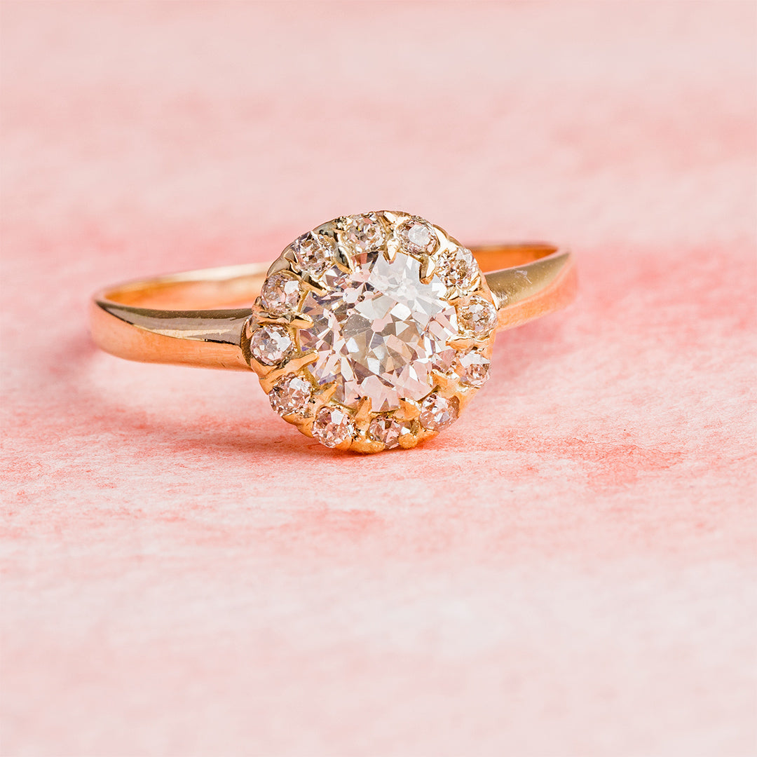 Delicate Victorian Halo Engagement Ring | Appian Way – Trumpet & Horn