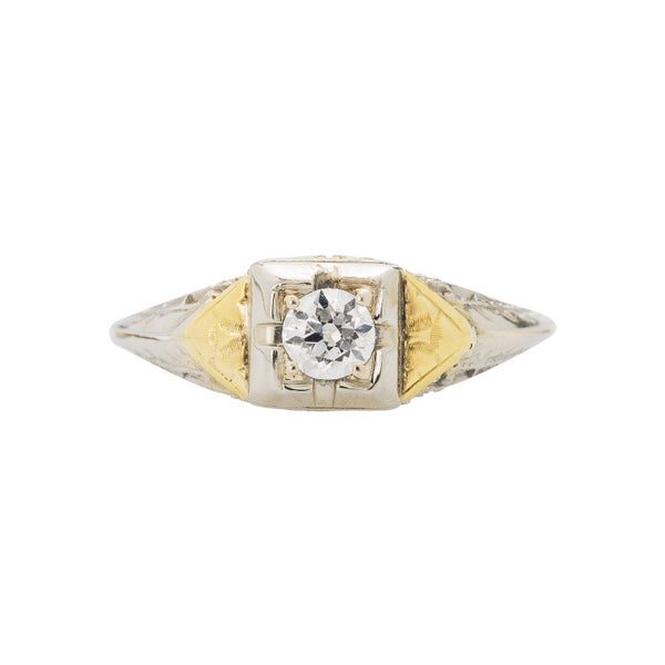 Retro Era Solitaire Engagement Ring