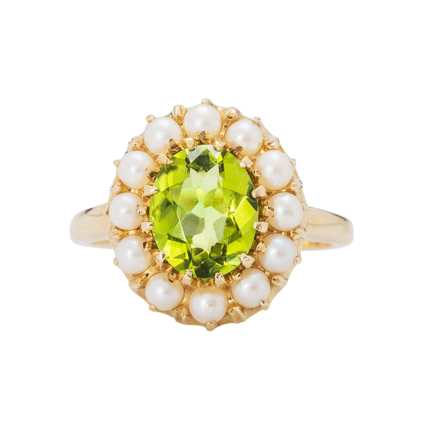 A fabulous Mid Century Peridot and Pearl Cocktail Ring