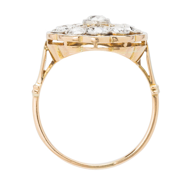 Bellentine | Authentic Edwardian era 18k yellow gold and platinum diamond vintage antique engagement ring by Trumpet & Horn