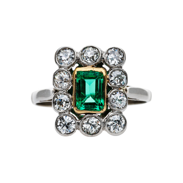 Delightful Vintage Emerald Ring with Diamond Halo | Belmont