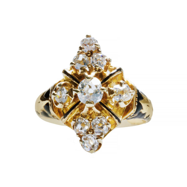 A Unique Victorian Era 14k Yellow Gold, Diamond and Black Enamel Ring | Bexley