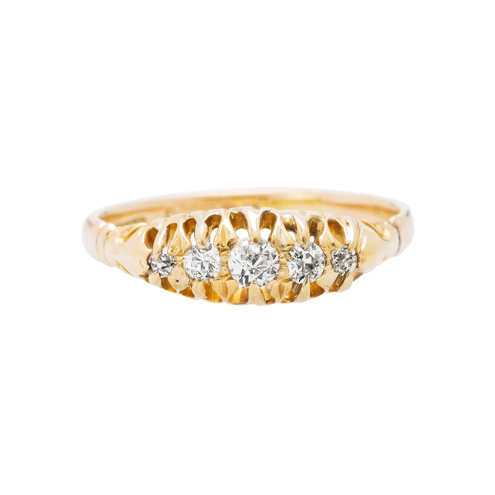 A Classic Authentic Victorian Yellow Gold And Diamond Band With English Hallmarks