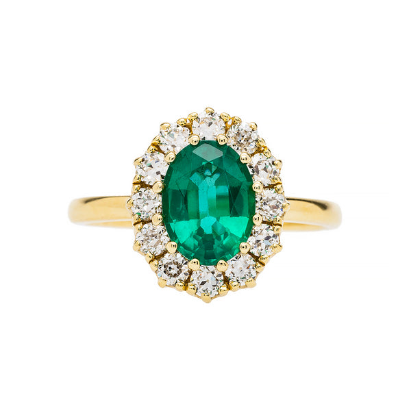 Emerald Braswell | Victorian Inspired Emerald Diamond Halo Vintage Engagement Ring