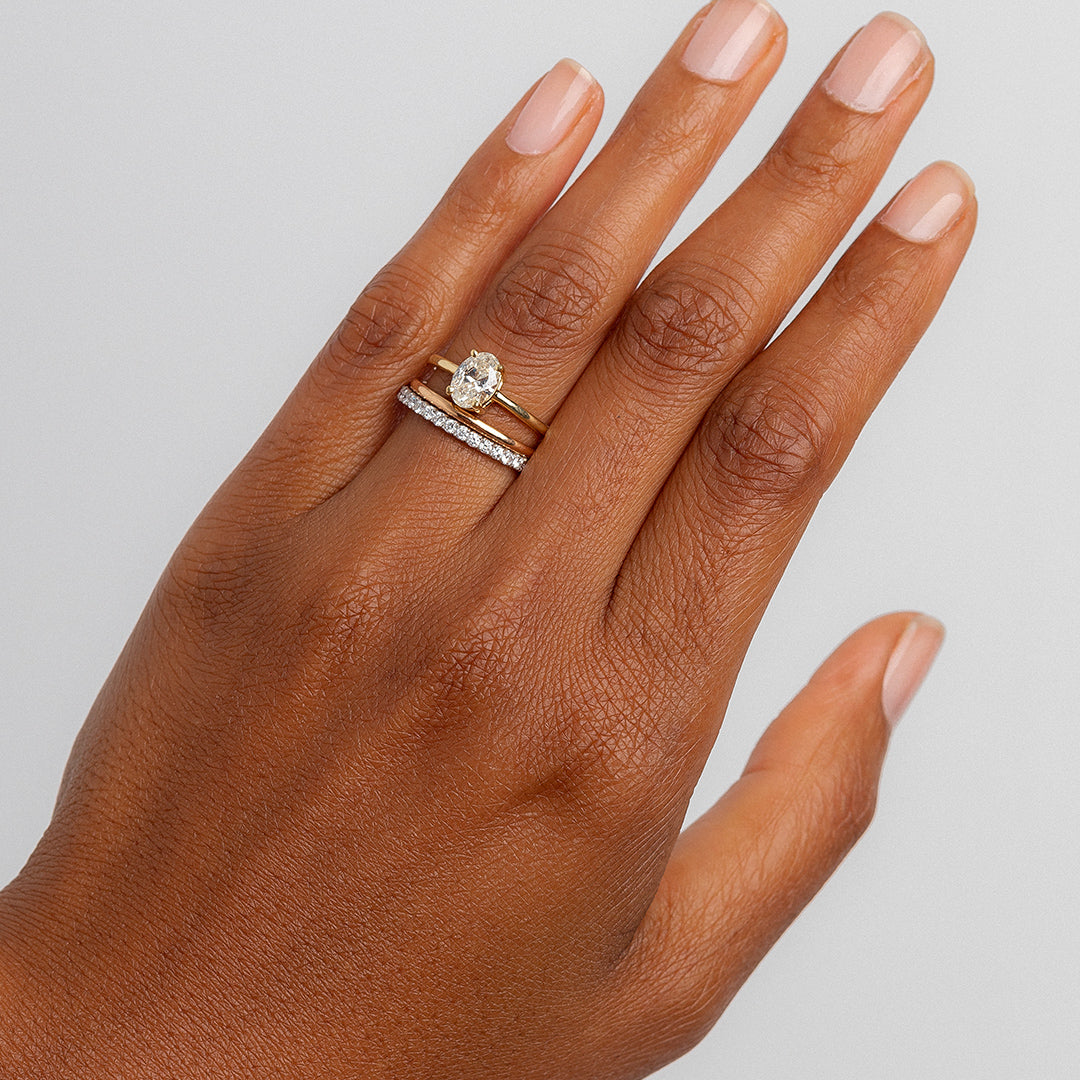 Delicate Minimalist Rose Gold Wedding Band Lyon Trumpet Horn