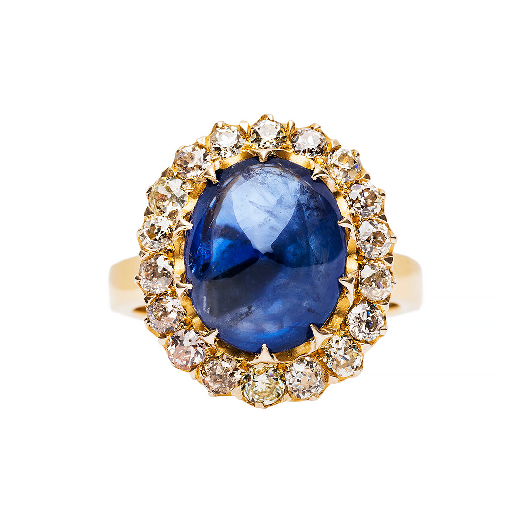 Victorian Cluster Ring with Cabochon Sapphire