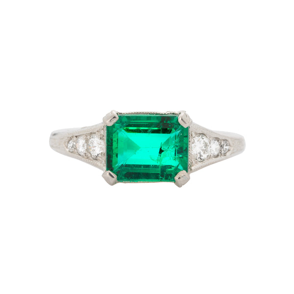 Authentic Vintage Art Deco Platinum Emerald and Diamond Ring