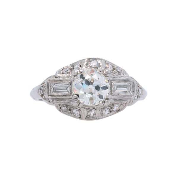 A Lovely and Authentic Art Deco Platinum and Diamond Engagement Ring