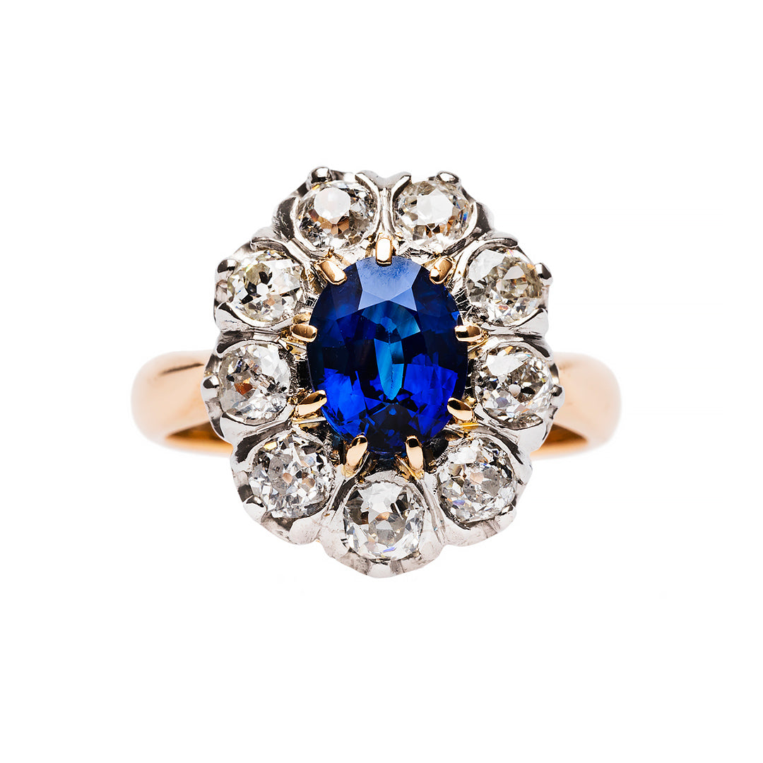 Intensely Blue Sapphire and Diamond Ring
