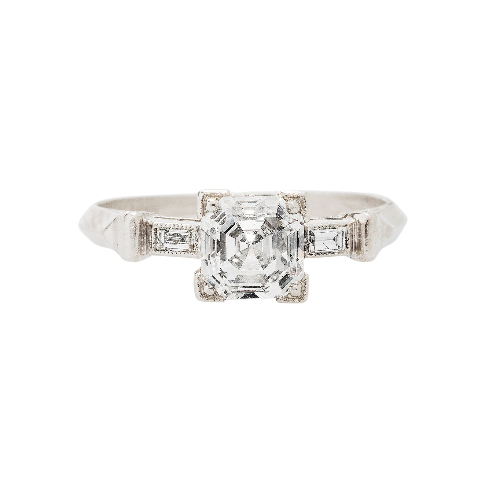 A Gorgeous and Authentic Art Deco Platinum and Asscher Cut Diamond Ring