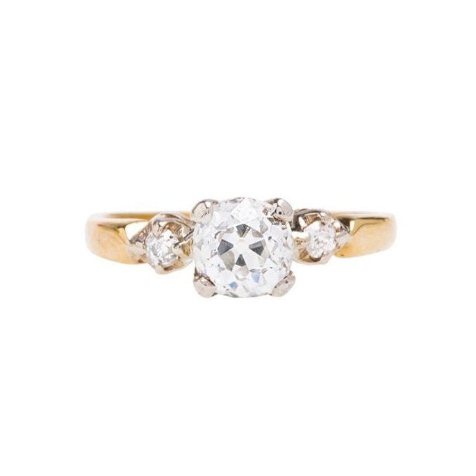 A Pretty Authentic Victorian Era Three Stone Diamond Engagement Ring