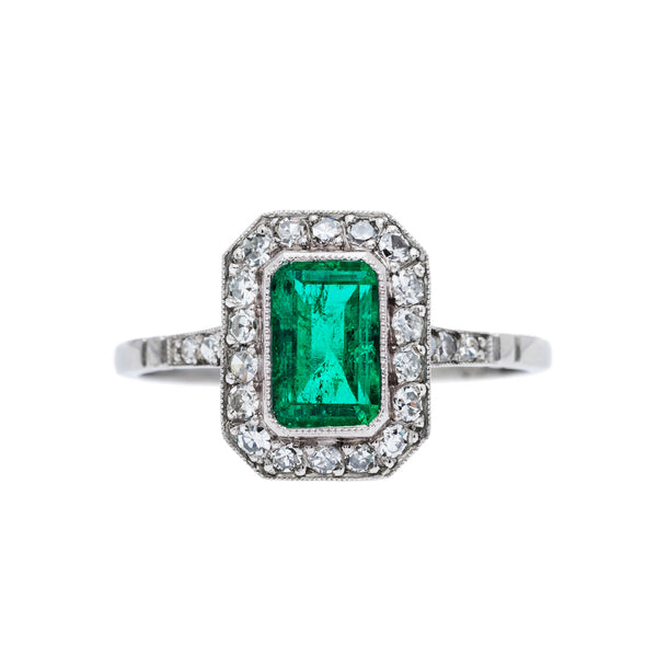 Art Deco Inspired Emerald Engagement Ring | Clover Springs